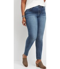 maurices plus size jeans womens everflex™ high rise medium wash stretch skinny jeans blue