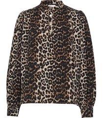 print denim blouse blus långärmad brun ganni