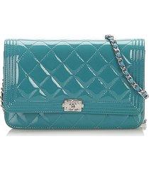 chanel boy patent leather wallet on chain blue, light blue sz: