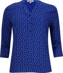 blusa estampado hojas color azul, talla xs