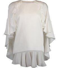 ruffle cape blouse