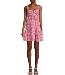 betsey johnson women's gingham tiered dress - red - size l