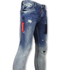 addict jeans slim mannen blauw