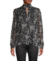 karl lagerfeld paris women's floral keyhole blouse - black - size xs