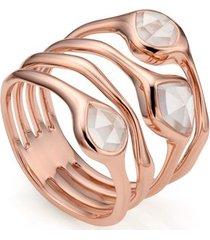 rose gold siren cluster cocktail ring rose quartz
