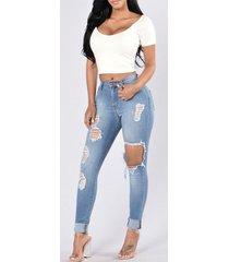 bolsillos laterales detalles rotos al azar jeans
