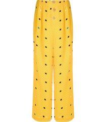 eva gravataria boca wide-leg trousers - yellow