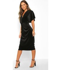 petite velvet twist front midi dress, black