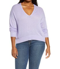 plus size women's bp. rib v-neck cotton blend sweater, size 2x - purple