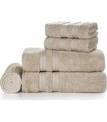 jogo de toalhas de banho e rosto karsten unika 100% algodão bege 5 peças
