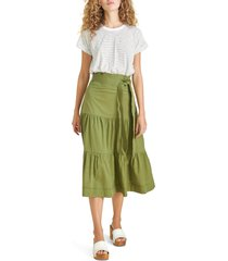 veronica beard trail mixed media cotton dress, size x-small in white/fern at nordstrom