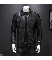 chaqueta de cuero negro clapi