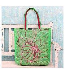 cotton shoulder bag, 'lime delight' (india)