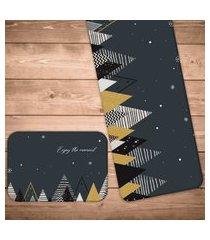 jogo americano com caminho de mesa pinheiros geométricos natalinos kit com 2 pçs + 2 trilhos