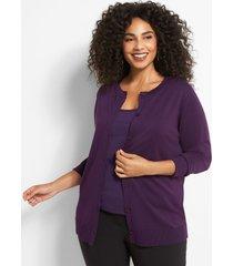 lane bryant women's button-front cardigan 26/28 plume purple