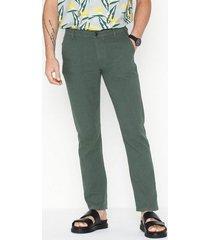 selected homme slhstraight-paris linen pants w byxor grön