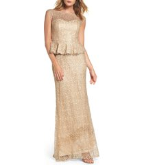 women's la femme embellished lace peplum gown, size 8 - beige