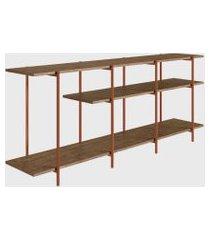 rack aparador estante vermont/est. cobre artesano marrom/cobre