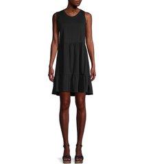 lea & viola women's tiered flare dress - black - size l