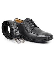 kit sapato social derby sandro moscoloni juarez + cinto masculino