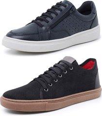 kit 2 sapatenis sandalo soft preto e levit preto