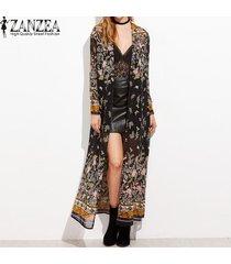 zanzea para mujer de manga larga de la vendimia de boho impreso floral de la gasa del kimono con cuello en v de playa del verano largo maxi chaqueta cardigan tops -multicolor