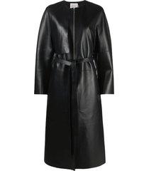 totême zip-fastening belted trench coat - black