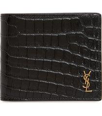 men's saint laurent east/west croc embossed leather bifold wallet - black