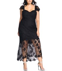 city chic trendy plus size embroidered lace mermaid dress