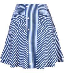 derek lam 10 crosby ruched striped skirt - blue