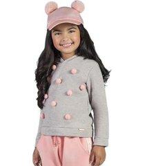 casaco infantil bugbee pompons feminina