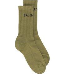 balenciaga logo print ribbed ankle socks - green
