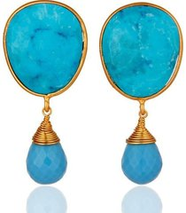 14k gold plated 925 sterling silver turquoise gemstone dangle earrings jewelry