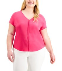 bar iii plus size seamed v-neck top, created for macy's