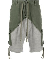 greg lauren mid-rise two-tone panelled shorts