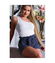 sexy hoge taille stof-shorts met polka stippen en riem blauw