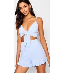tall tie front top & shorts co-ord, cornflower blue