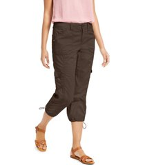 style & co curvy-fit cargo capri pants, created for macy's