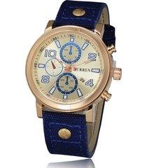 curren / 8199 reloj de hombre con correa de lona-blanco