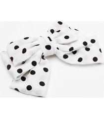 womens bow holding back polka dot hair clip - white