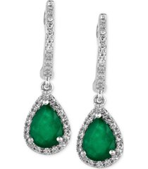 brasilica by effy emerald (1-1/8 ct. t.w.) and diamond (1/4 ct. t.w.) drop earrings in 14k white gold, created for macy's