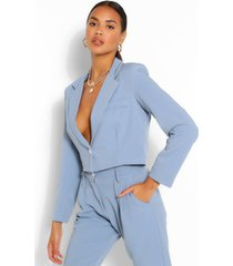 crop textured blazer, blue