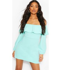 off the shoulder puffball shift dress, aqua