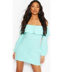 off the shoulder puffball shift dress, aqua