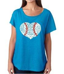 la pop art women's dolman cut word art shirt - baseball mom