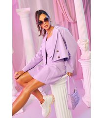 tailored double breasted cropped blazer, lilac