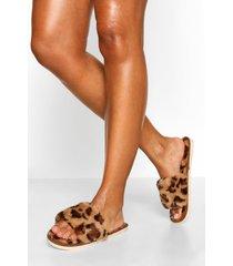 luipaardprint sloffen, bruin