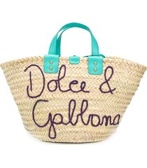 dolce & gabbana logo straw tote bag - neutrals