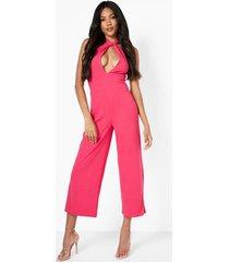 gedraaide culotte jumpsuit met halter neck, hot pink