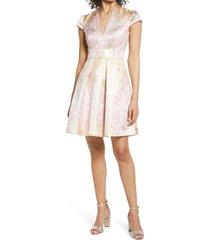women's vince camuto metallic jacquard satin fit & flare dress, size 16 - pink